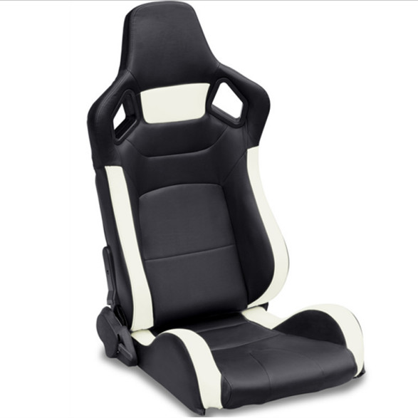PVC Adjustable White And Black Racing Seats / Sports Car Seat with single slider